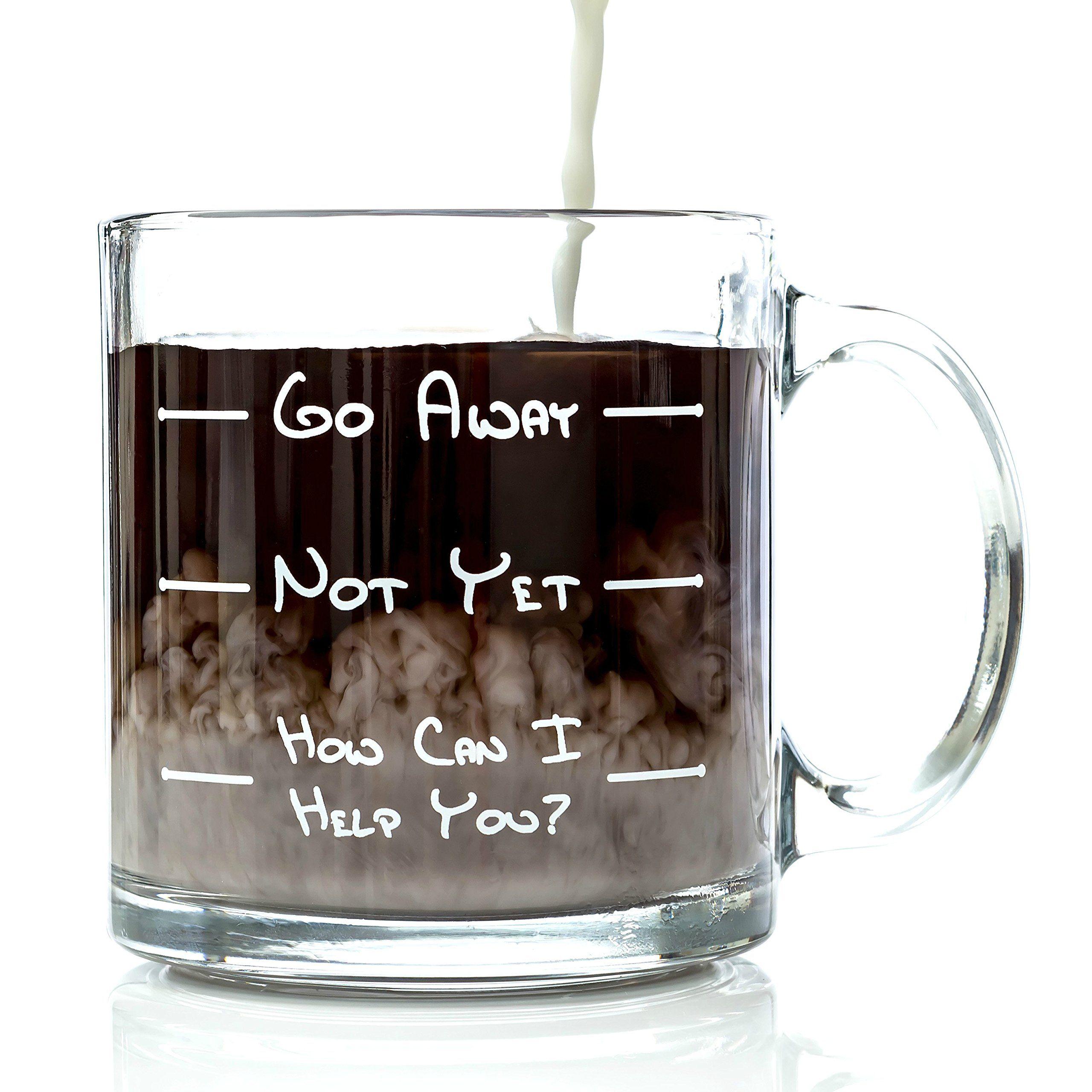 Amazoncom Go Away Funny Glass Coffee Mug Perfect Idea As