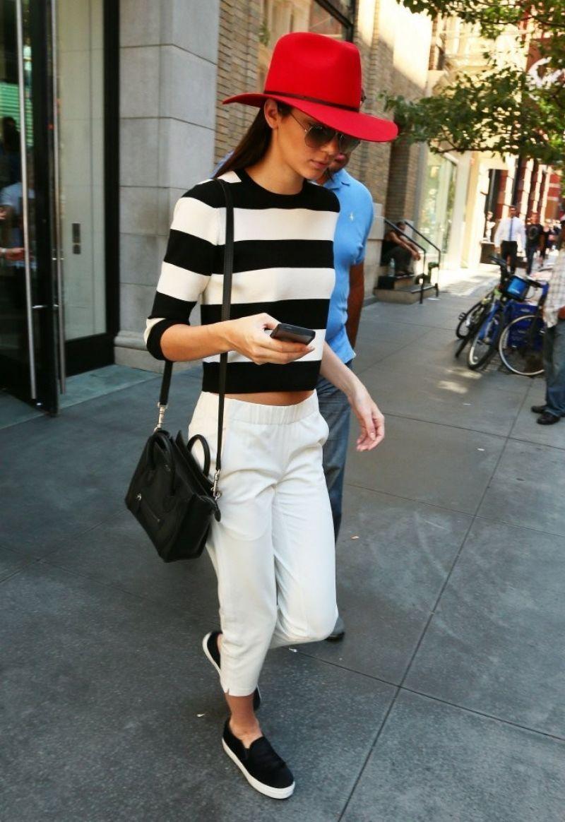 Kendall.. Theory Harmona S Sweater, Theory Kleon B Pants, Kenneth Cole King Sneakers, and Celine Nano Bag..