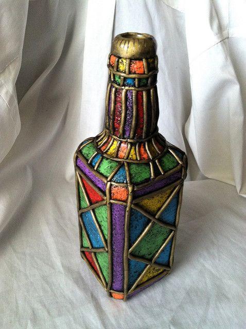 Faux Stained Glass Boho Lantern Bottle Upcycle Art Bottle