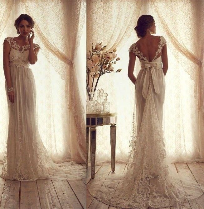 2015 A-Line Sexy Lace Wedding Dresses Bridal Gowns Custom Made 4 6 8 10 12 14 16