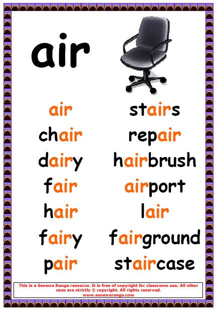 Air Words English Pinterest Phonics English And School