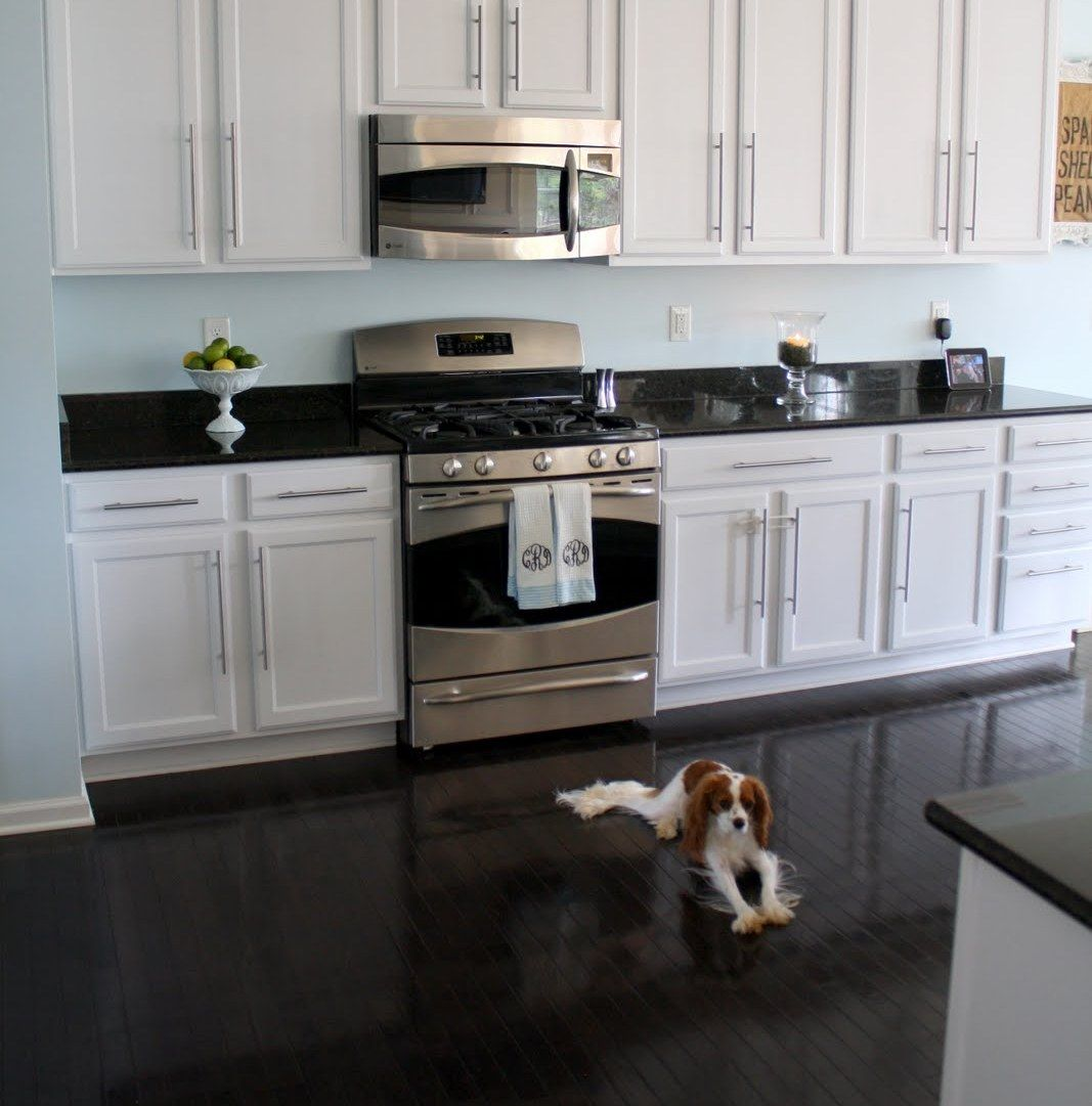 Of White Kitchens With Dark Floors Other Option For The Kitchen White Cabinets Black Floor Floor