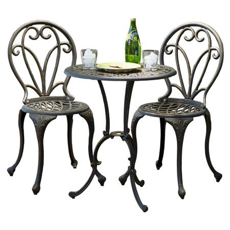 Perfect For Your Veranda Or Sunroom, This Bistro Inspired Patio Set  Features Lattice