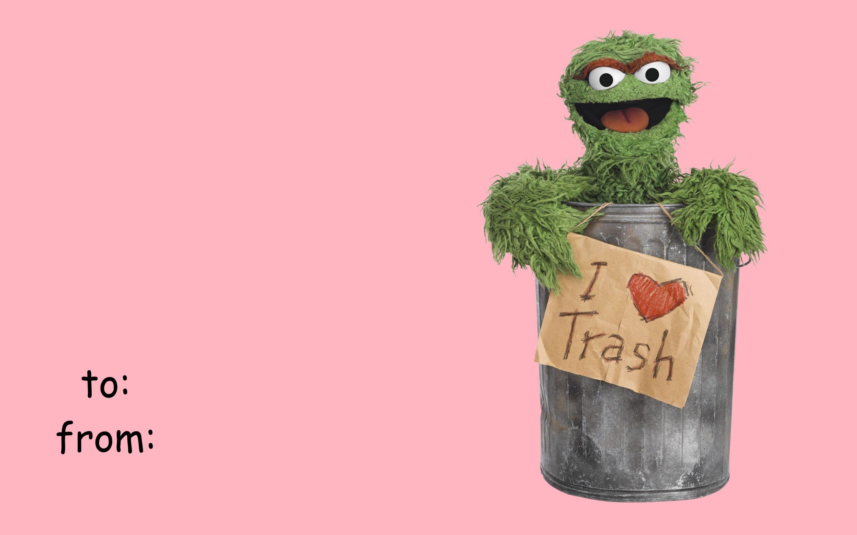 Sesame Street Oscar The Grouch I Heart Trash Funny Valentine
