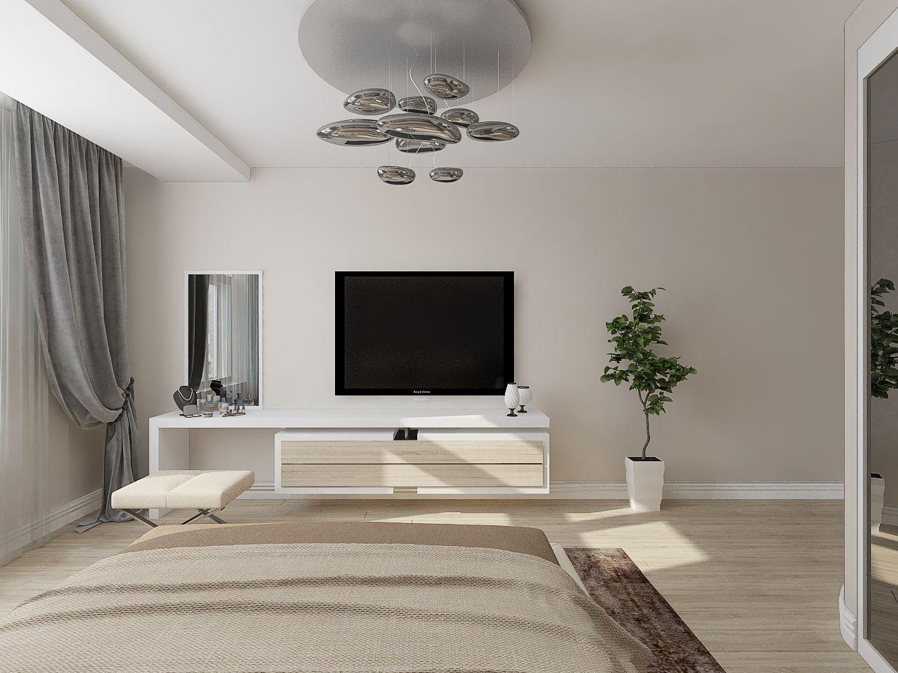 оформление стены с телевизором в спальне фото модели