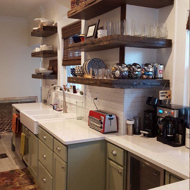 Dark Walnut Kitchen Shelving, Wrap Around Shelves, Corner Floating Shelves