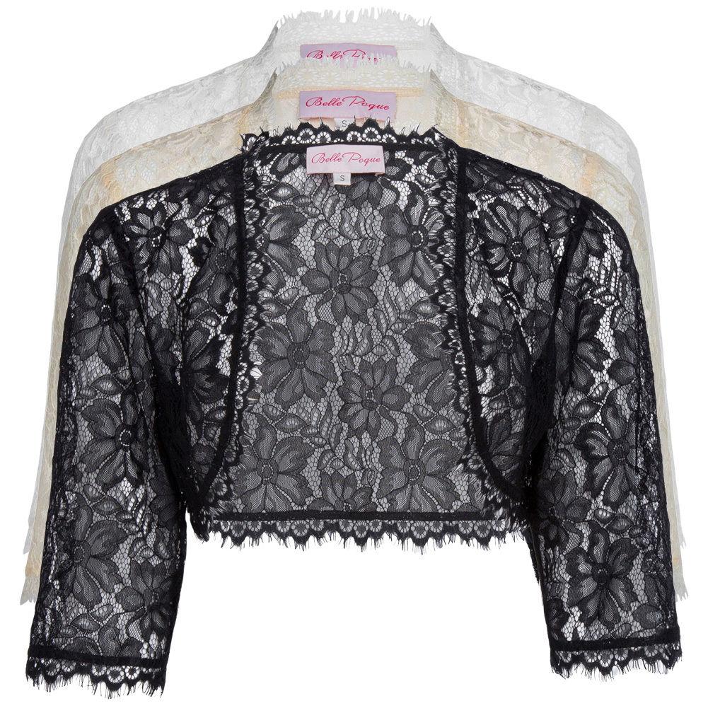 64e6080120a Sheer Cardigan Lace 3 4 Sleeve Bolero Shrug Cropped Women Lady Dress Jacket  Tops