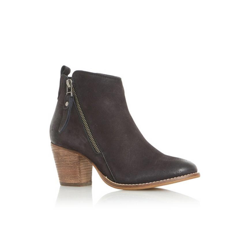 6c8cf56a5d0 WF PONTOON - Stacked Heel Side Zip Ankle Boot - black