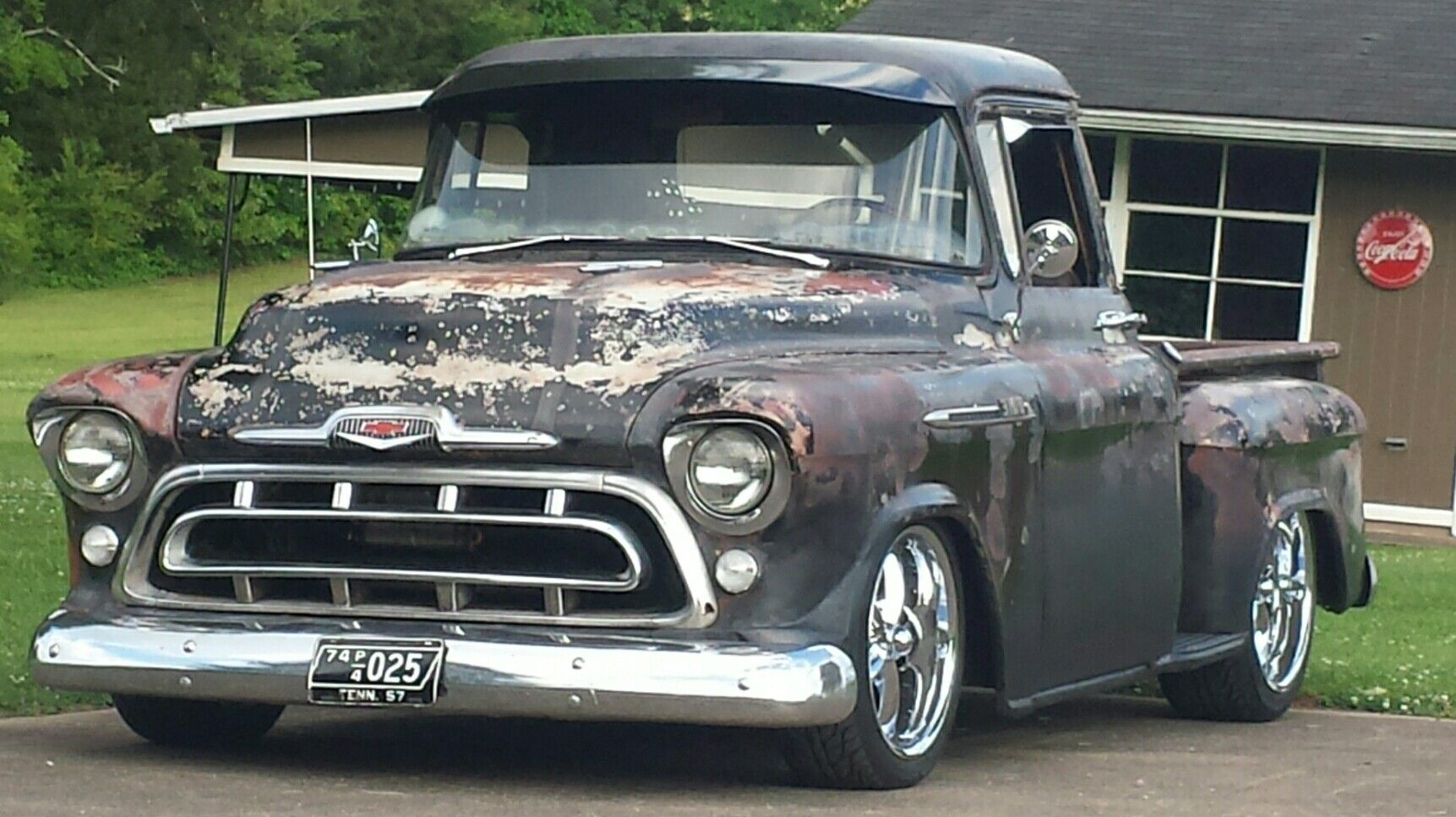 57 chevy truck rat rod garage low rider weathered 3100 series hot rod street rod classic custom  [ 1723 x 968 Pixel ]