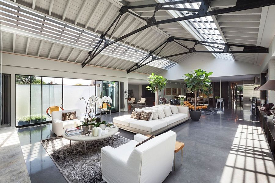 Sweeping inetriors of the loft style lateral penthouse in london with industr - Deco style loft new yorkais ...