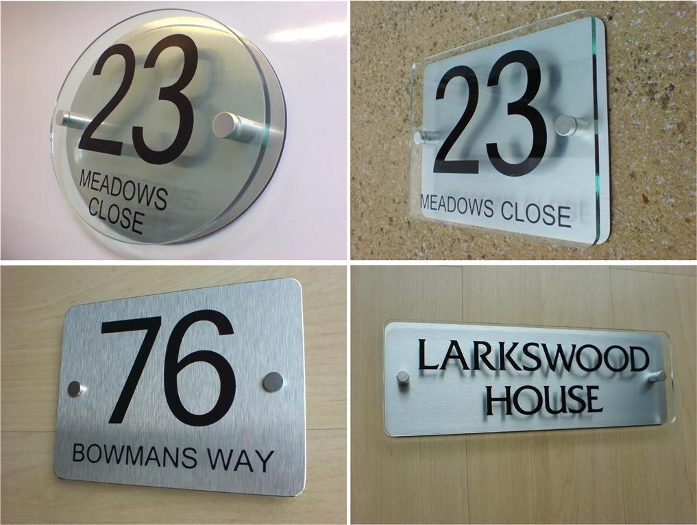House Number Door Sign Plaque Modern Frosted Glass Effect Acrylic Metal Spacers Contemporary House Numbers House Number Sign House Number Plates