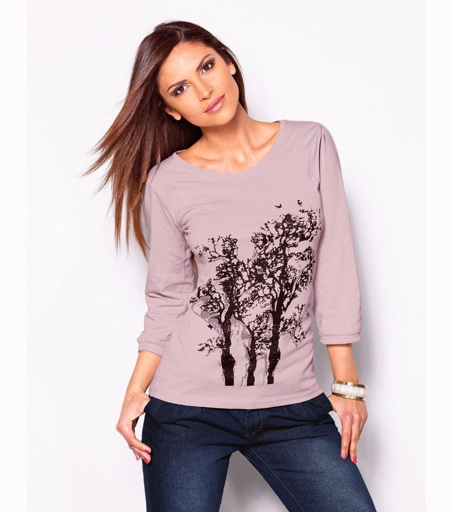 Camiseta mujer manga 3 4 estampada 100% algodón Moda Mujer YF Venca ... 59fb2189dee44