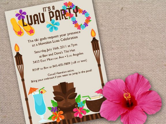 Luau Birthday Invitation Sweet 16 Tropical Hawaiian Hula Party – Hula Party Invitations