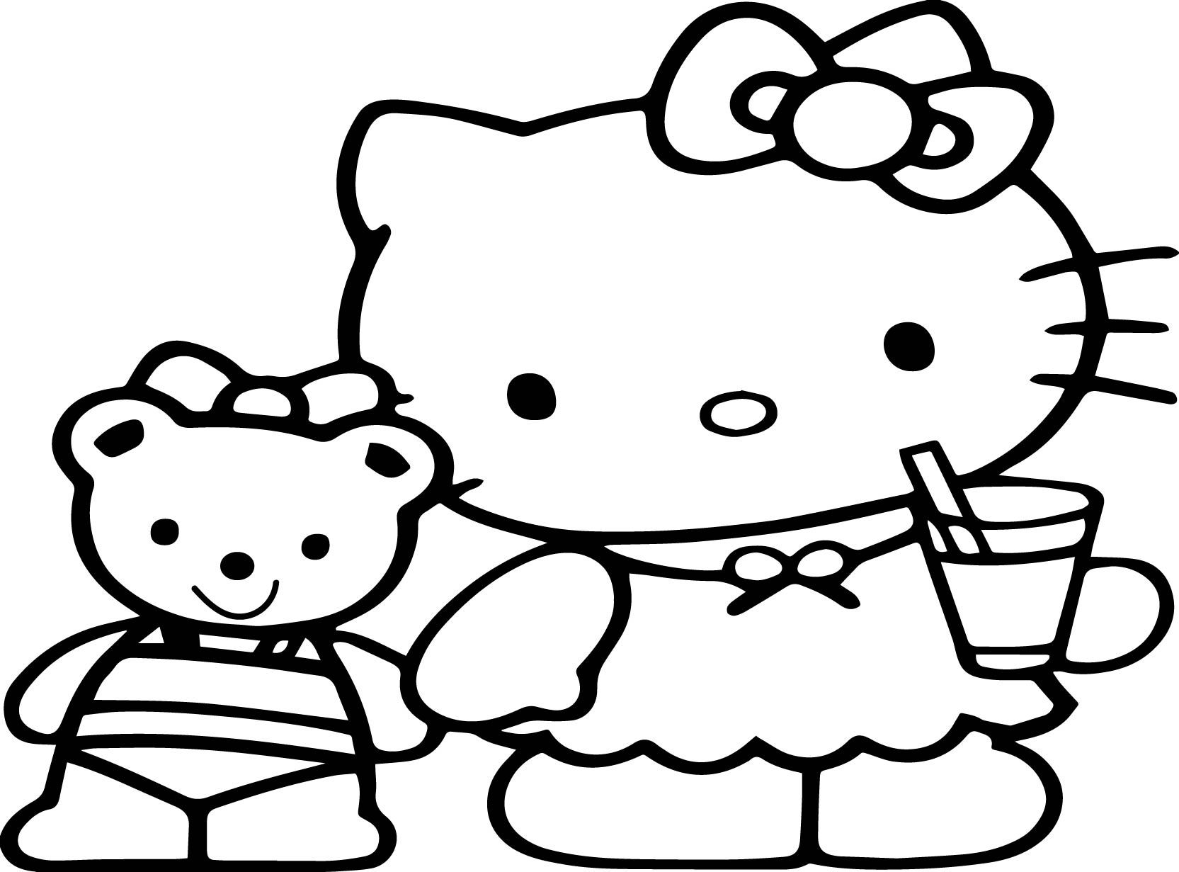 Cool Cute Cartoon Hello Kitty Coloring Page