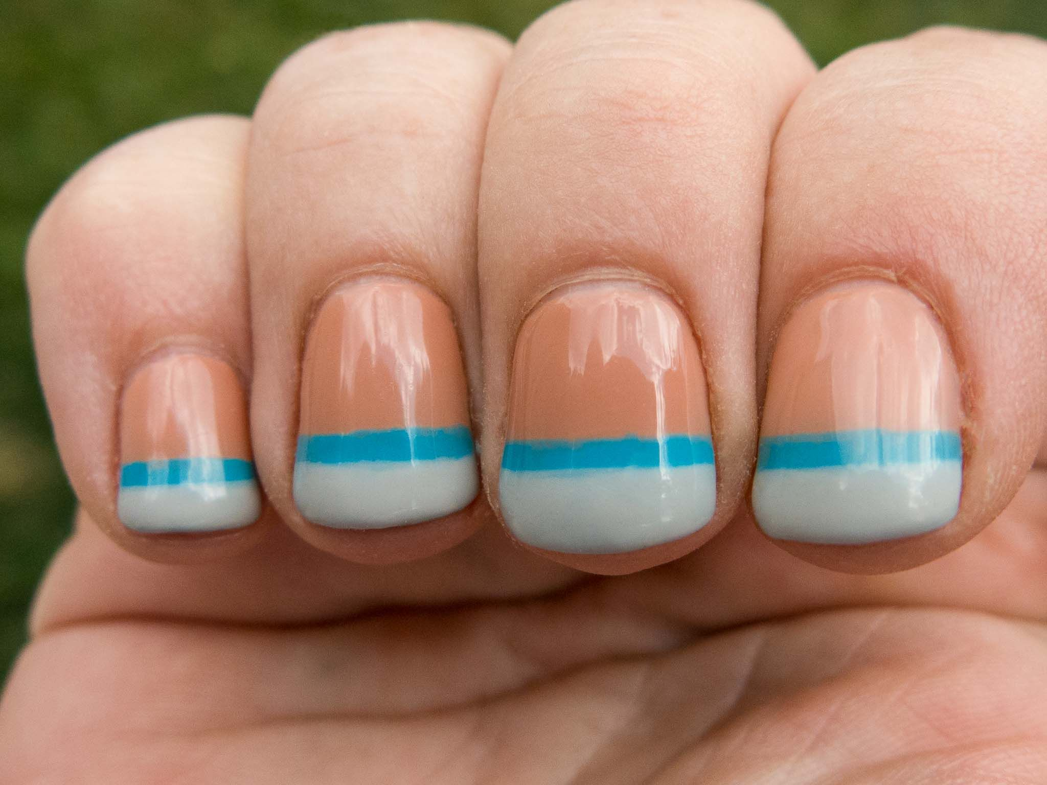 light blue and gray double french manicure using cnd shellac two