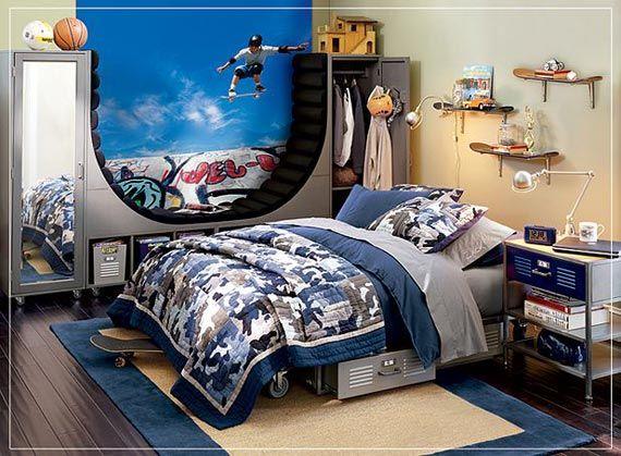 Cool Boy Room Designs skateboarding bedroom idea. love the skateboard shelves and the