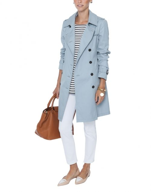 Victor Light Blue Trench Coat By Weekend Maxmara On Halsbrook Light Blue Coat Outfit Blue Coat Outfit Blue Trench Coat