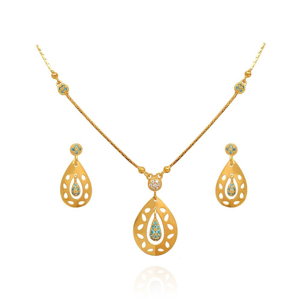 Light Weight Jewellery | Blossom Bluestone Pear Drop Gold Chain ...