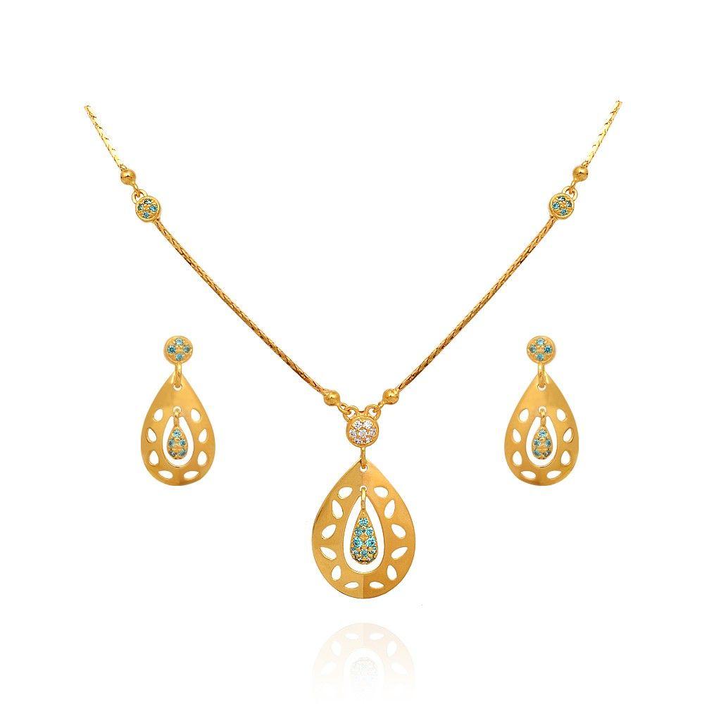 Gold necklace designs in grt jewellers - Light Weight Jewellery Blossom Bluestone Pear Drop Gold Chain Grt Jewellers