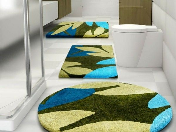 Badezimmerteppich Set ~ Badematte sky uni blue diamond set bad idea area rugs