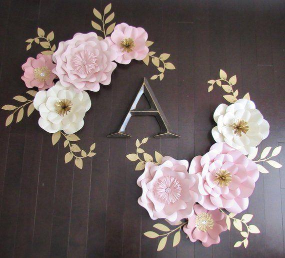 2f0103998e6c Eight Piece Paper Flower Set Nursery Decor   Color Customizable ...