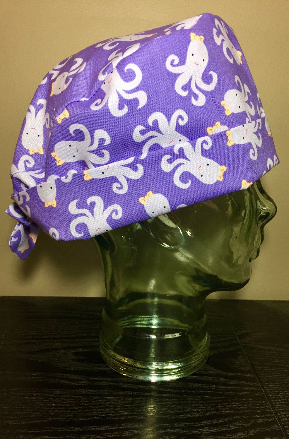 f47b0bbbbb4 Adorable Purple Octopus with a Bows Surgical Scrub Hat