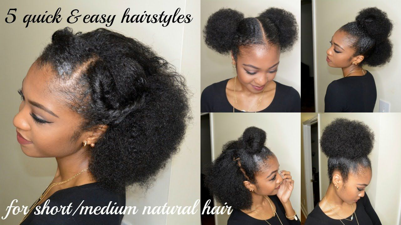 5 Quick Easy Hairstyles For Short Medium Natural Hair Disisreyrey Natural Hair Styles Medium Hair Styles Medium Natural Hair Styles