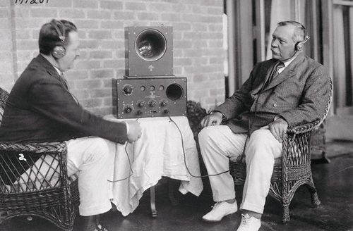 Sir Arthur Conan Doyle, on his 1922 trip to America, given a demonstration of the John Firth Company's Radiotelephone. The Radiotelephone was one of the first attempts at two way radio communication. Doyle apprently had the model shown installed when he returned from his trip. Photographer unknown.