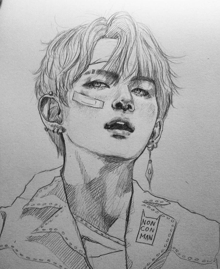 w/o bandaid Bts drawings, Kpop drawings, Drawings