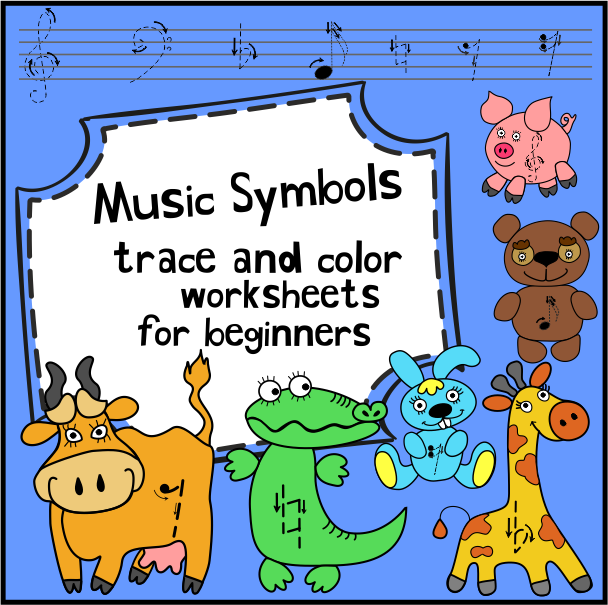 Music Symbols Trace And Color Worksheets For Beginners Music