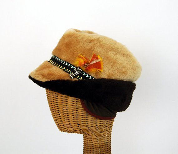 1ceecd51f8 1960s men s winter hat fur Russian style quilted with feather and ear flaps  Size M