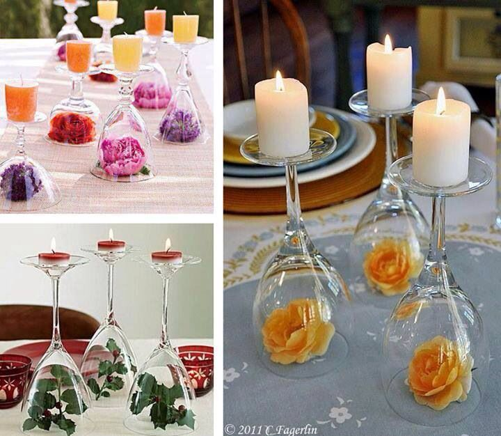 Quick easy table decorations with wine glasses flowers for Wine glass decorations for weddings