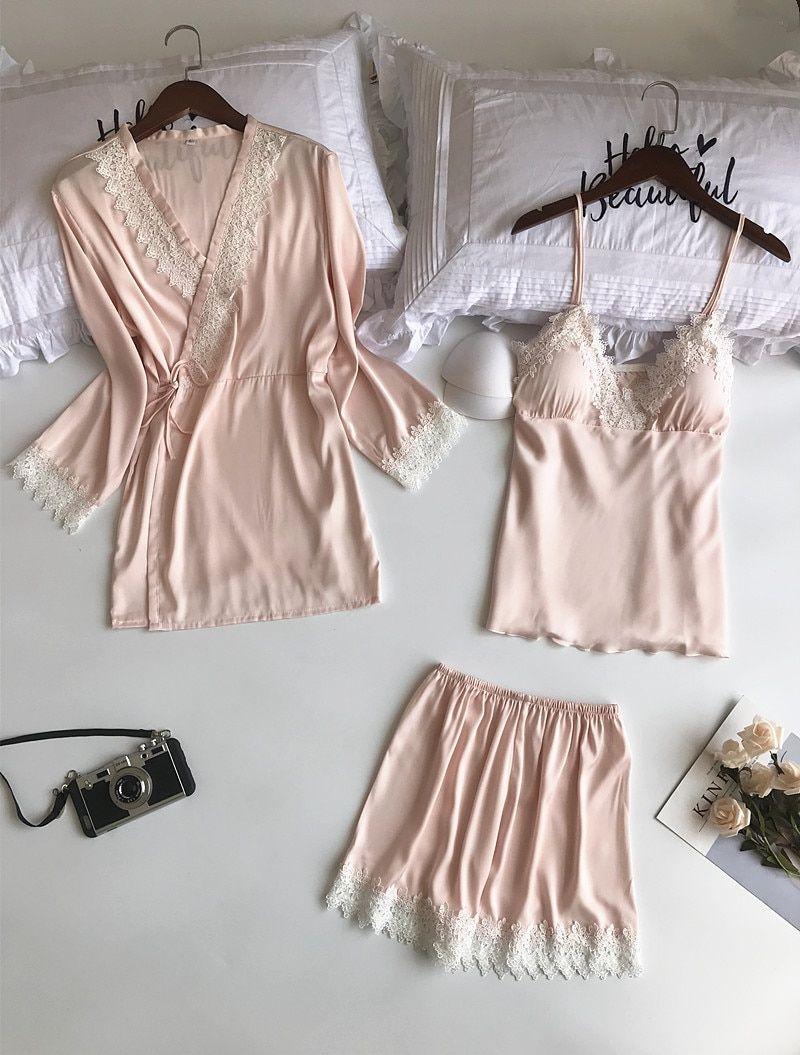 cc295f0c8512 2018 Newest Satin Pajamas Sets for Women Elegant 3 Pieces Sleepwear Female  Sexy Lace Silk Pyjama