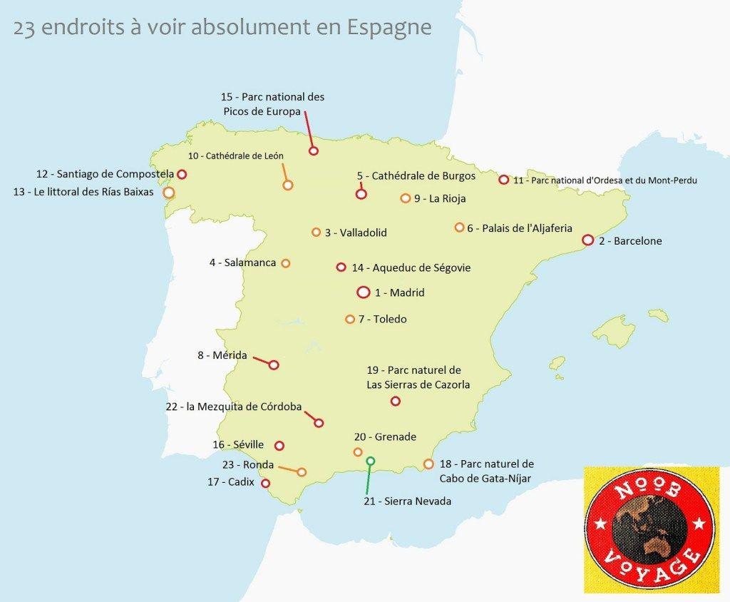 Carte De L Espagne Detaillee A Imprimer Les Endroits A Voir