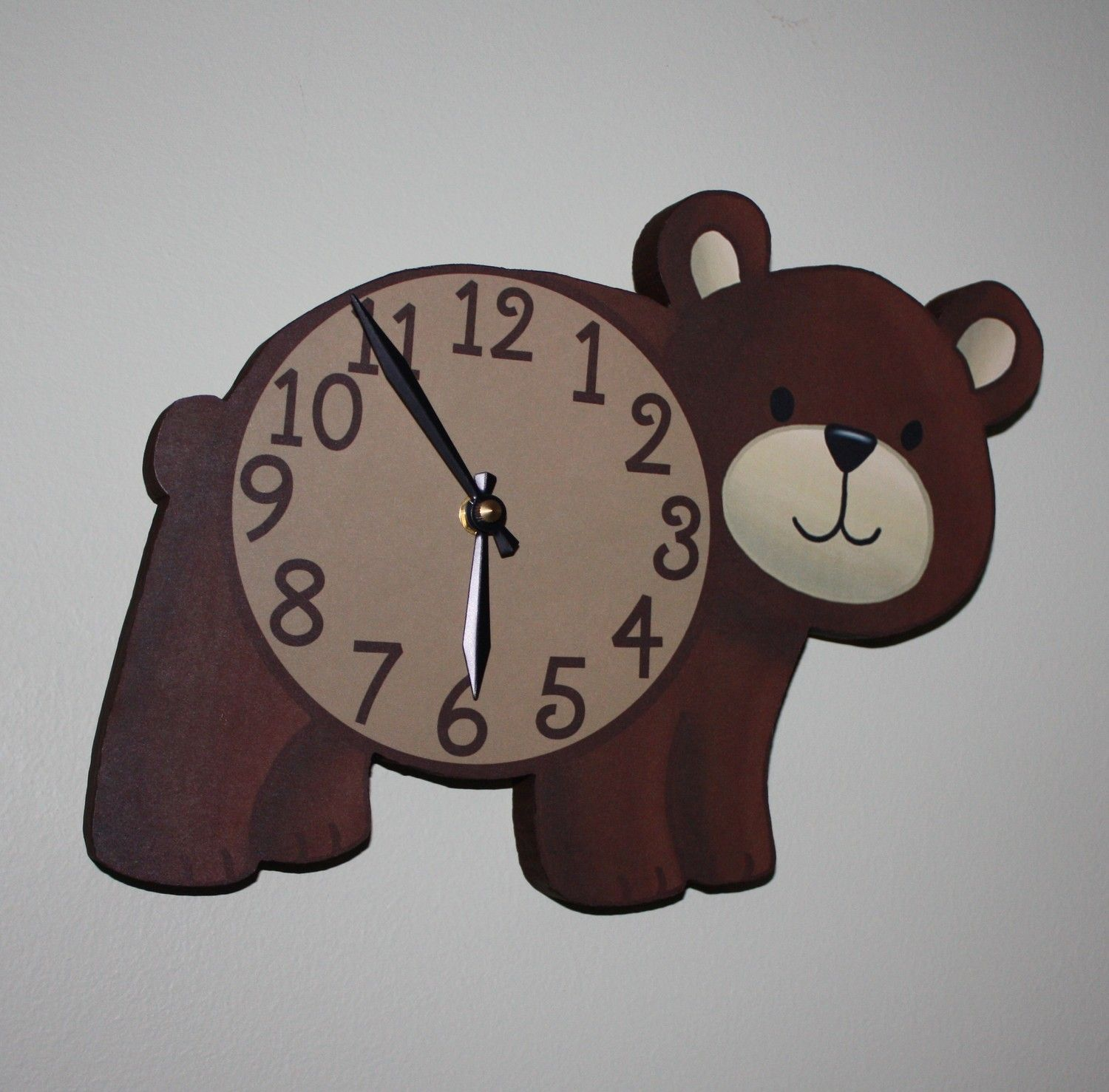 Brown bear woodland forest friends animal wooden wall clock kids brown bear woodland forest friends animal wooden wall clock kids bedroom baby nursery 4500 amipublicfo Gallery