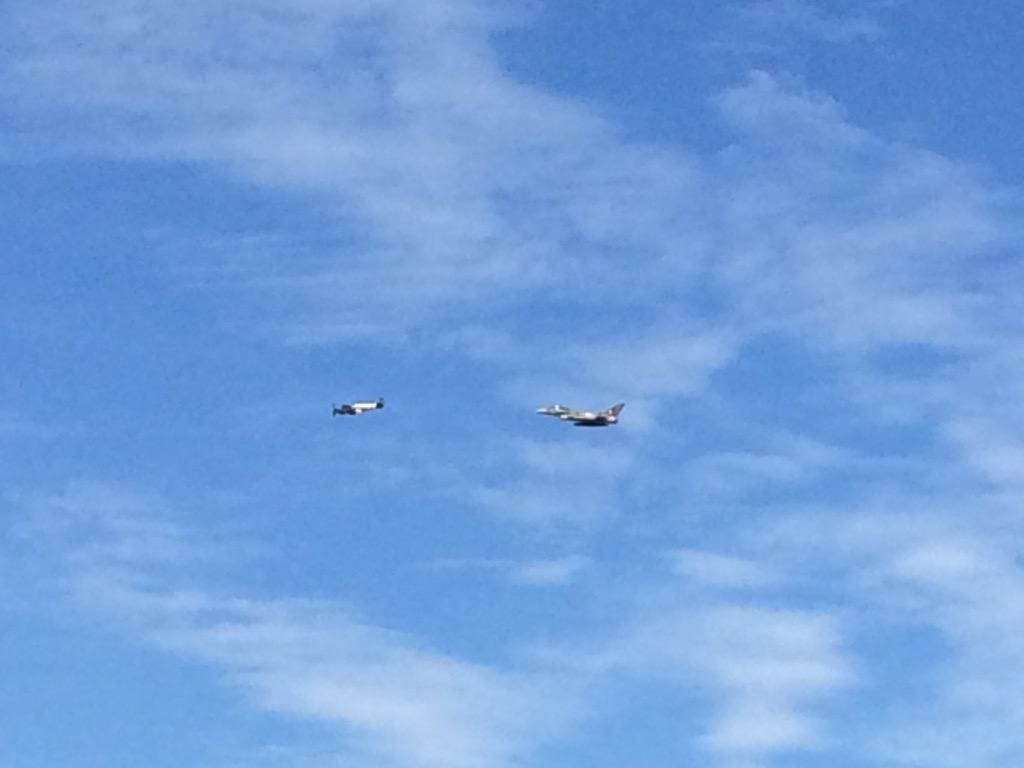 A spitfire and a typhoon flying overhead!  Amazing!! @LondonRIB #littlemike #BattleofBritain75