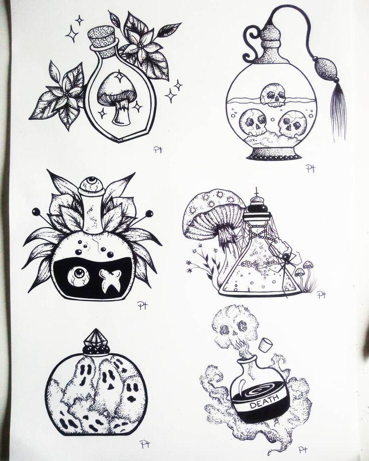 Hexensachen Flasche Schwarzweiss Kunst Zeichnen Schwarz Flasche Hexensachen Kunst Schwarz Black Ink Tattoos Bottle Drawing Tattoo Drawings