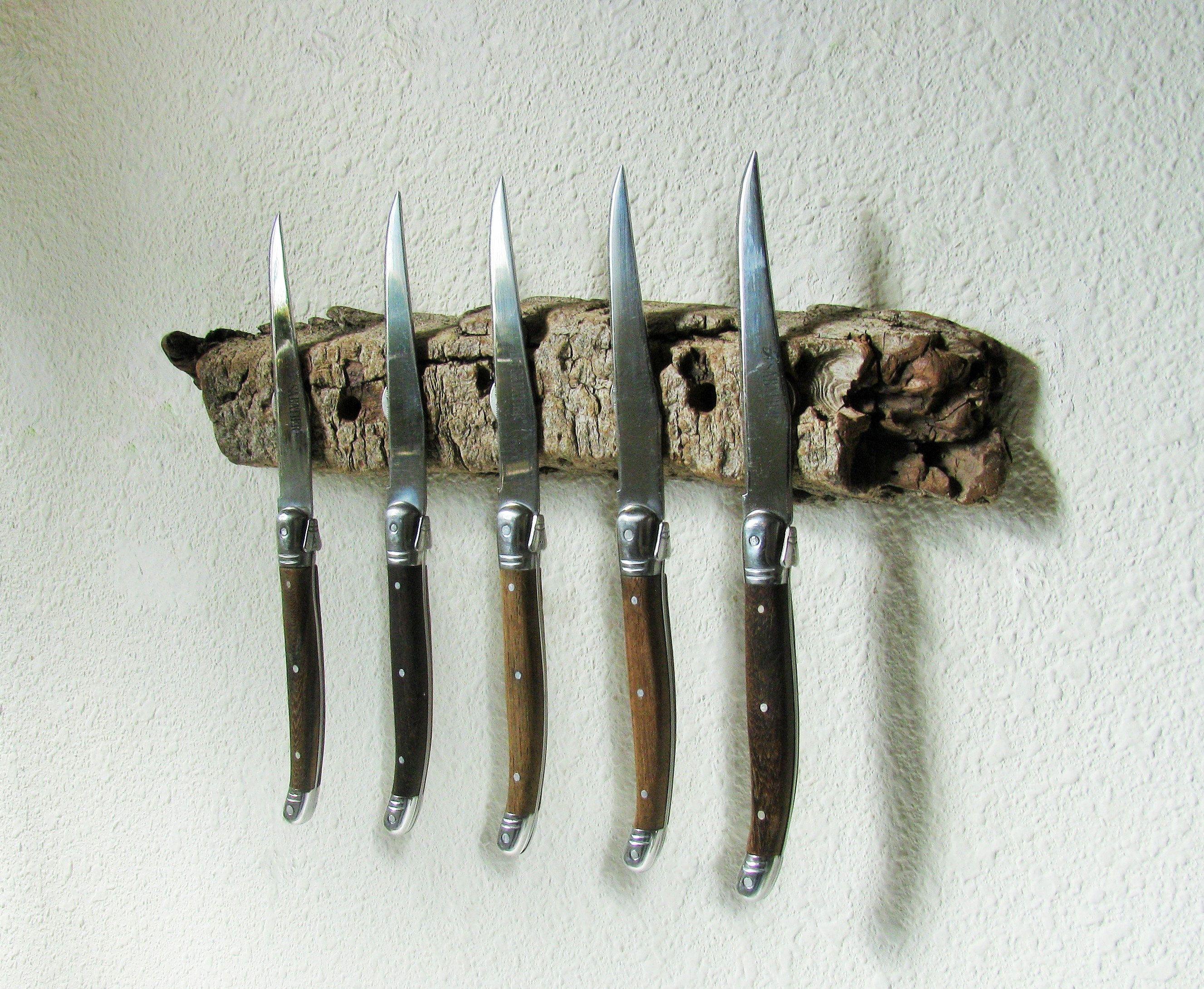 Natural Driftwood Bark Magnetic Knife Rack For Knife Storage