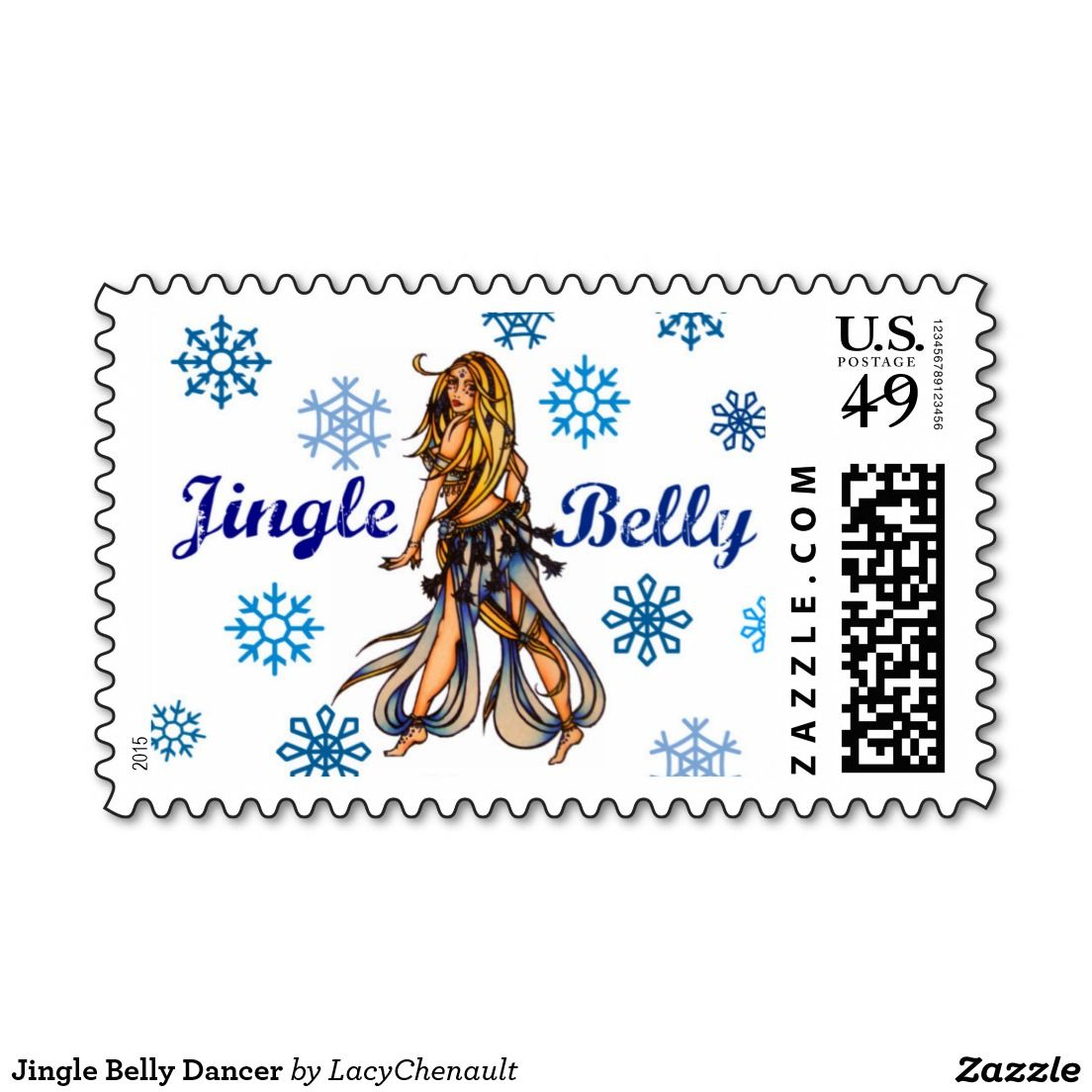 Jingle Belly Dancer Postage Stamps