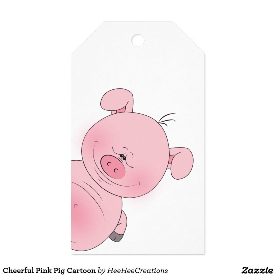 Cheerful Pink Pig Cartoon Gift Tags   Zazzle.com   Cartoon ...