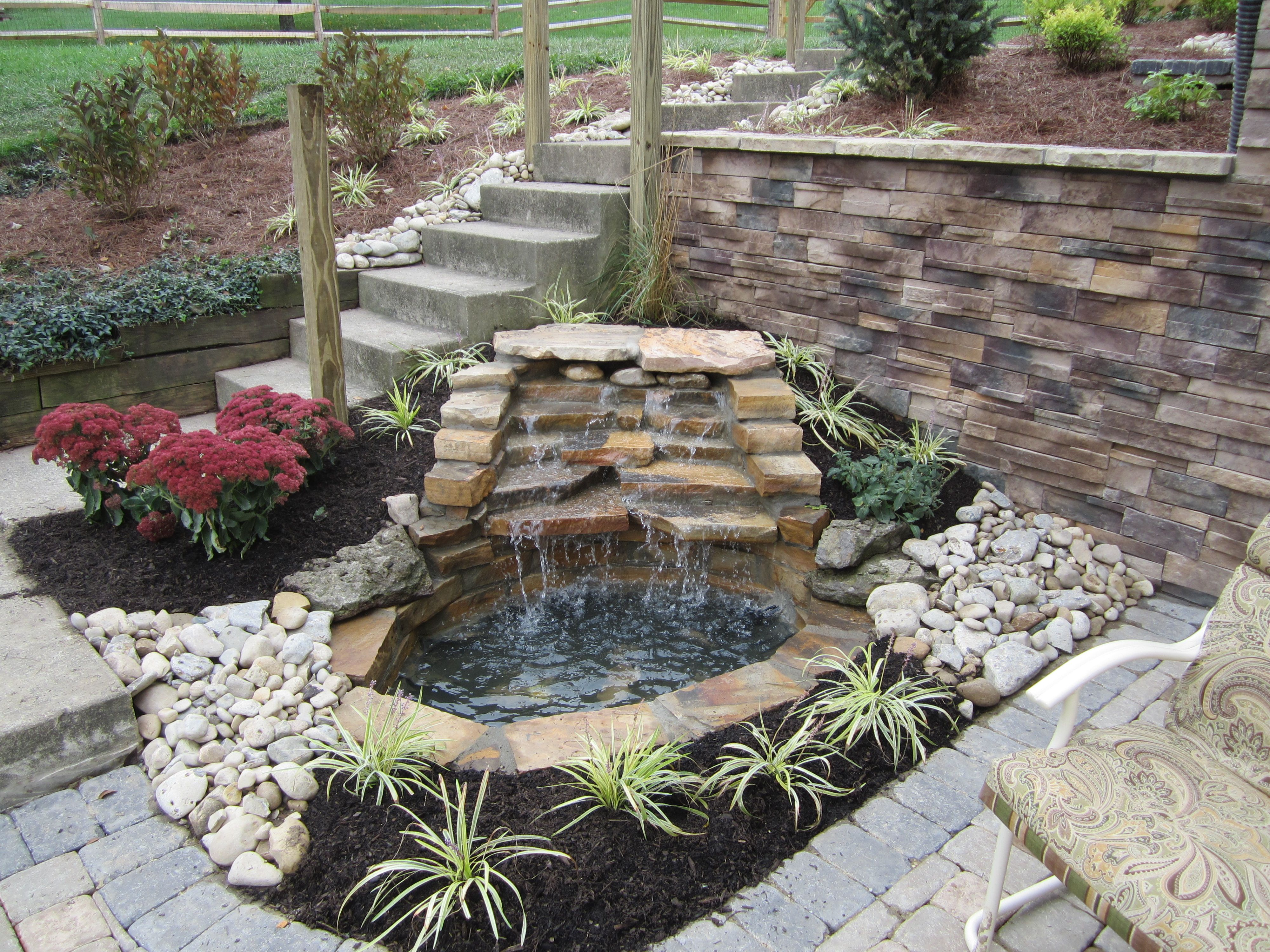 Mortared Water Feature With Falls Koi Pond Backyard 400 x 300
