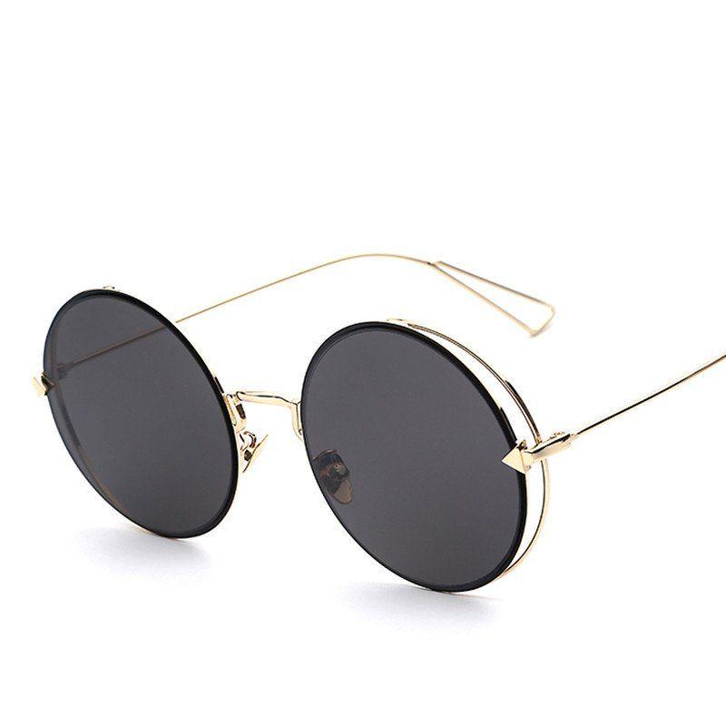 Round Circle Metal Reflective Lens Fashion Sunglasses   Acessórios 2e03626997