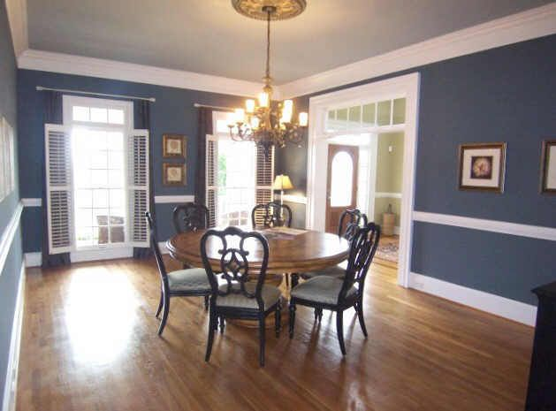Slate Blue In And Out Of Chair Rail With White Chair Rail Trim Filtered Lighting With Full Length Dining Room Paint Living Room Paint Dining Room Chair Rail