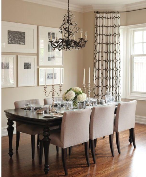 Dining Room Hard Wood Floors Beige Chairs Walls Black Chandelier
