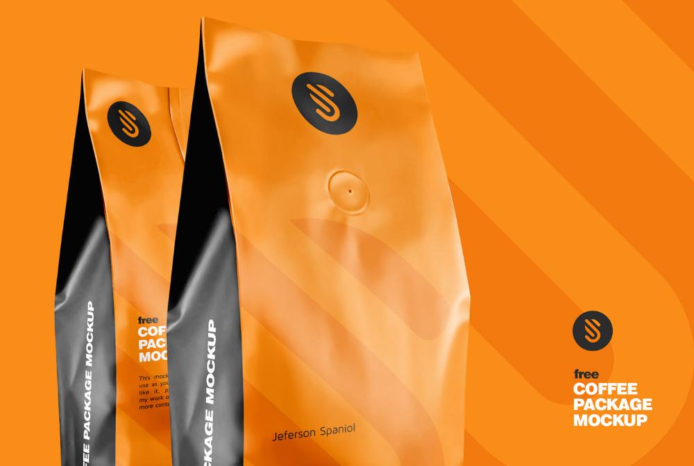 Download Free Coffee Bag Mockup Half Side View Front Back Package Mockup In 2021 Coffee Packaging Free Coffee Mockup