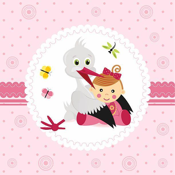 Cegonha e Bebê Menina - ilustração de arte em vetor