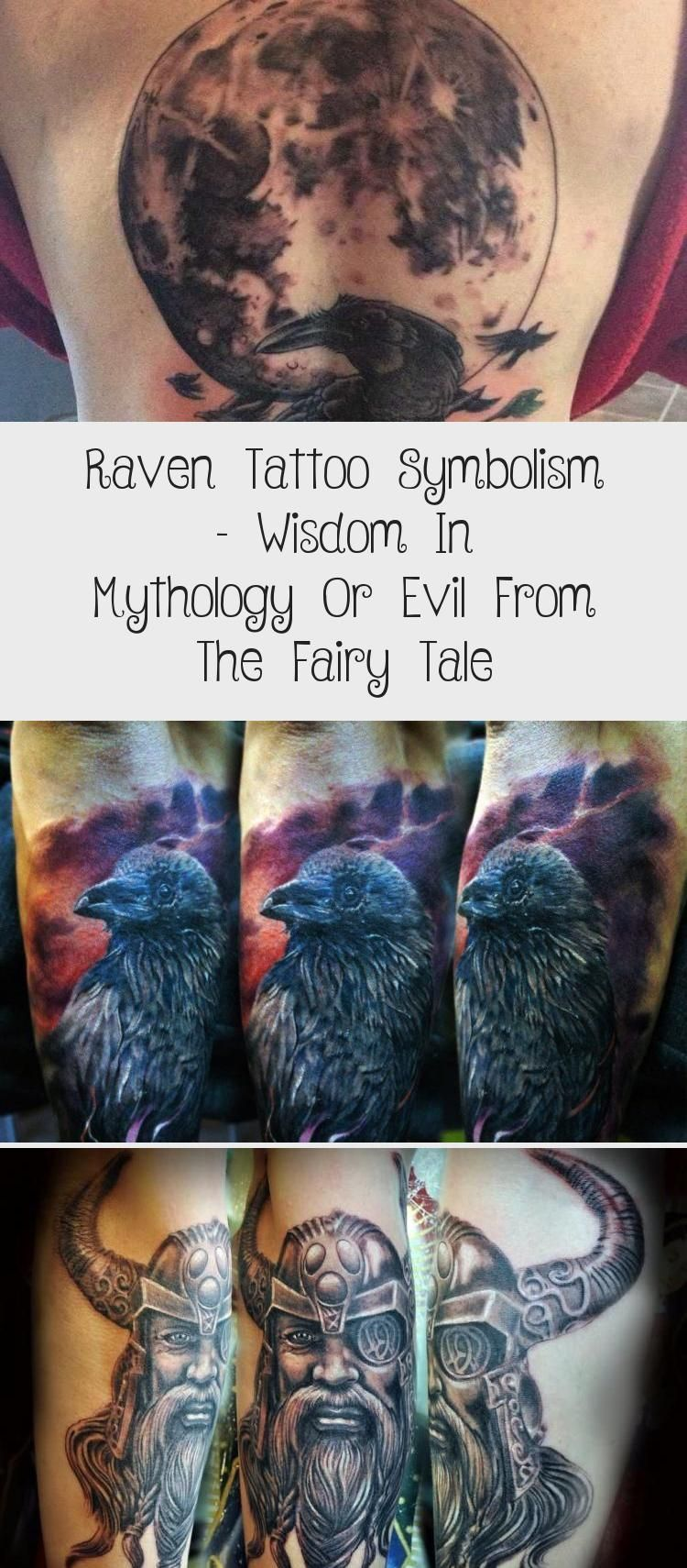 Raven tattoo symbolism - wisdom in mythology or evil from the fairy tale