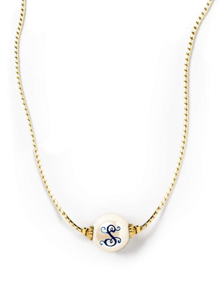 2df29bfec33033 Pearls – Kiel James Patrick. Pearlsonalized Gold Necklace Monogram ...