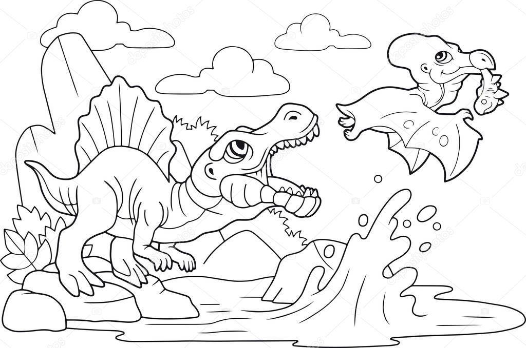 Desenhos Animados Bonitos Dinossauros Pre Historicos Livro De