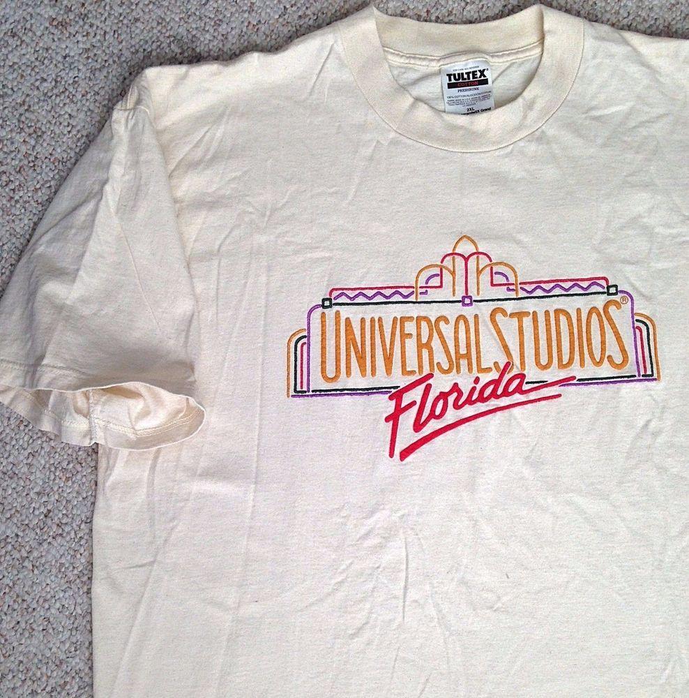 Vtg Rare Universal Studios Florida T Shirt Beige Off White Orlando